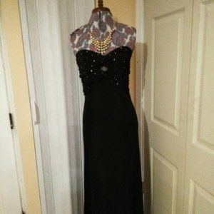 Betsy & Adam black formal  gown strapless size 8
